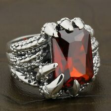 925 Sterling Silver Dragon Claw Red CZ Stone Mens Biker Ring 8E006A US 7.5~13