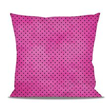 Hot Pink Polka Dots Fleece Cushion - Heart, Round or Square Shaped Pillow