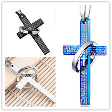 Unisex's Men Women Holy Bible Cross Pendant Necklace Ring Titanium Steel Chain