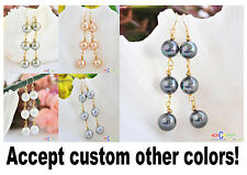 D0019 10MM round south sea shell pearl DANGLE EARRING 14K