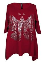 New Plus Size Ladies Red Wine Silver Butterfly Tunic Top