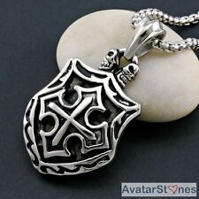 Men's Rocker Biker 316L Stainless Steel Cross Pendant Necklace Chain P5V183