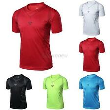 Mens Boys Quick Dry Wicking T-shirts Breathable Sports Fitness Shirt Tops M-XXL