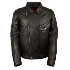 MENS MOTORCYCLE PREMIUM LEATHER SIDE BELTED JACKET w/ UTILITY POCKETS - SA68