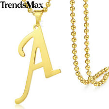 A-Z Gold Stainless Steel 26 INITIAL LETTER Pendant Necklace Men Chain Women 22''