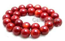 "SALE 14-15mm round High quality Red natural Coral loose beads strand 15""-los641"