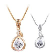 Adorable 18K White/Yellow Gold Filled Crystal Bling Chain Necklace Pendant