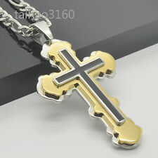 """316L Stainless Steel 3 Tone Layer Cross Pendant Figaro Chain 18-40"""" Necklace 221"""