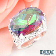 Romantic Valentine's Gift Oval Rainbow Mystical Topaz Gems Silver Ring 7 8 9