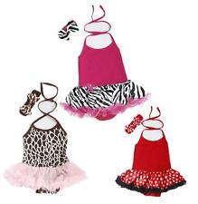 2PCS Infant Baby Girls Halter Romper Tutu Dress Headband Outfit Party Clothes