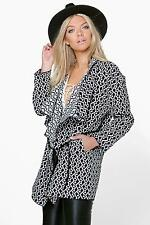 Boohoo Womens Boutique Ivy Jacquard Waterfall PU Belted Coat