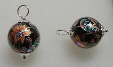 12mm Black Iridescent Tensha INTERCHANGEABLE Earring Charms Sterling Silver