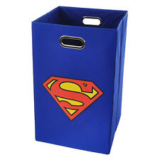 Modern Littles Superman Logo Folding Laundry Hamper Bathroom Bedroom Room Basket