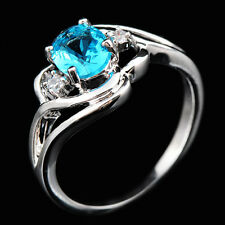 8*6mm Aquamarine Sapphire Wedding Rings 18KT White Gold Filled Size 6-10 Fashion