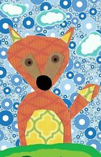 Fox Blue Background Colorful light switch plate cover Nursery childrens room