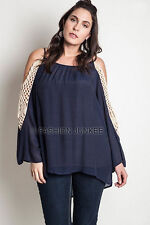 NAVY BLUE OPEN SHOULDER CROCHET TUNIC Off the Top Long Sleeve XL 1X 2X PLUS SIZE