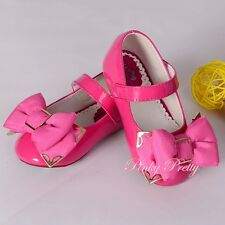 Bow Velcro Mary Janes Shoes Size UK 5.5-12 EU 22.5-30 Flower Girl Party GS013