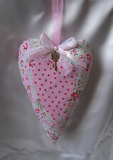 Shabby Chic Heart Door Hanger With Charm Cath Kidston Fabric Choice of Designs