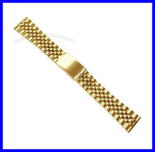 18mm 20mm Stainless Steel IPG Gold Tone Flat End Jubilee Watch Band Bracelet