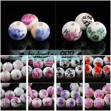 Wholesale 12mm Round Flower Charms Ceramic Porcelain Loose Spacer Beads Findings