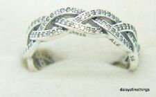 NEW! AUTHENTIC PANDORA RING BRAIDED RING CLEAR CZ 190913CZ  HINGED BOX *SPECIAL*