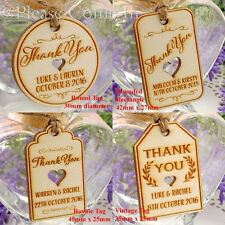 Mini Personalised Wooden Engraved Wedding Favour Gift Tags/Thank You Tags