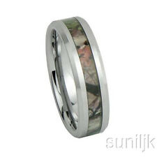 Unisex Camo Hunting Tan/ Brown/Green Camouflage 7mm Tungsten Wedding Band Ring