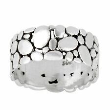 Silverly .925 Sterling Silver Pebble Beach Oval Stone  Ring
