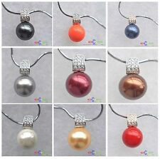 D0088 12mm round south sea shell pearl chain Square pendant