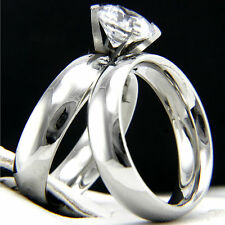 New 1.28 CT CZ Solitaire Engagement Stainless Steel Wedding Bridal Band Ring Set