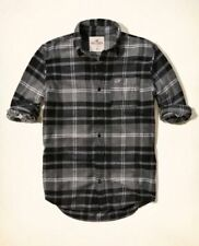 Hollister by Abercrombie Men's NWT Gray Plaid Button Down Flannel Shirt Small