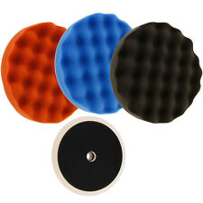 "Waffle Foam Buffing & Polishing Pad Kit 3 - 8"" Polish Pads Grip Backing Plate"