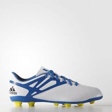 Adidas Messi 15.4 Junior Boys FxG Firm Ground Studded Football Boots White Blue