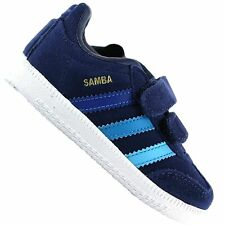 ADIDAS ORIGINALS SAMBA CHILDREN BABY TRAINERS VINTAGE LEATHER SHOES BLUE SUEDE