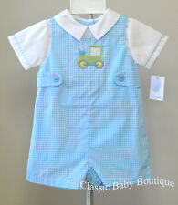 NWT Petit Ami Turquoise Green Tractor Jon Jon 12 18 24 months Baby Boys Romper