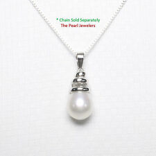 14k Solid White Gold Cone Shaped Bail Set Genuine White Cultured Pearl Pendant
