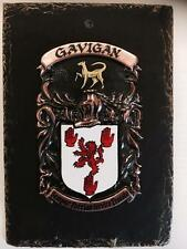 Handpainted COAT OF ARMS Crest Shield on SLATE - Mc Cormick to Mc Elvany