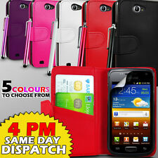 LEATHER WALLET CASE COVER,SCREEN GUARD & STYLUS FOR SAMSUNG GALAXY W I8150