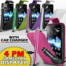 LEATHER FLIP CASE COVER,FILM & STYLUS PEN & CAR CHARGER FOR SONY XPERIA S LT26I
