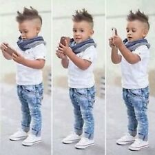 2pcs New Toddler Kids Baby Boy Infant T-shirt Top+Jeans Pants Clothes Outfit Set