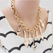 Women Fashion Jewelry Necklace Gold Plated Triangle Arrows Chunky Chain Choker