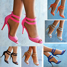 LADIES BRIGHT RHINESTONE HIGH HEEL TWIN ANKLE STRAP OPEN TOE SHOES SANDALS 3-8