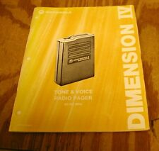 Motorola Dimension IV Pager, Low Band Tone & Voice 30-50 mHz Service Manual