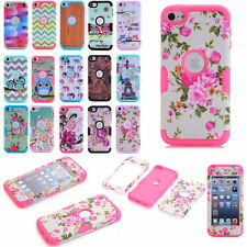 For Apple iPod Touch 5 6 6th Gen PC Case Shockproof Rubber Back Patterns Cover