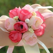 Hot Bridal Wrist Corsage Rose Buds Wedding Party Prom Bridesmaid Flower Bracelet