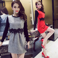 Spring Autumn Elegant Womens Woolen Lace Stitching Long Sleeve A Line Mini Dress