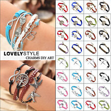 NEW Jewelry Fashion lots Style Leather Cute Infinity Charm Bracelet Men Women