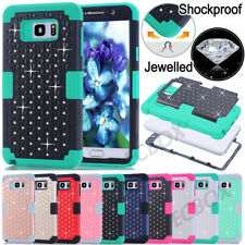Rugged Bling Crystals Skin Hybrid Soft Hard Case Cover for Samsung Galaxy Note 5