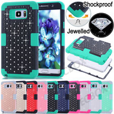 Rugged Bling Crystals Skin Hybrid Soft Hard Case Cover for Samsung Galaxy Series