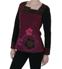 Fleece Upper Part with Beautiful Floral Embroidery for Billhook Ladies Boho